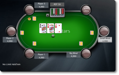 Sample view of a Texas Hold'em table in the flop betting round.